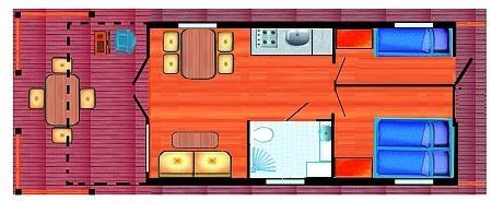 Grundrissvariante mit Doppelkoje und Stockbett